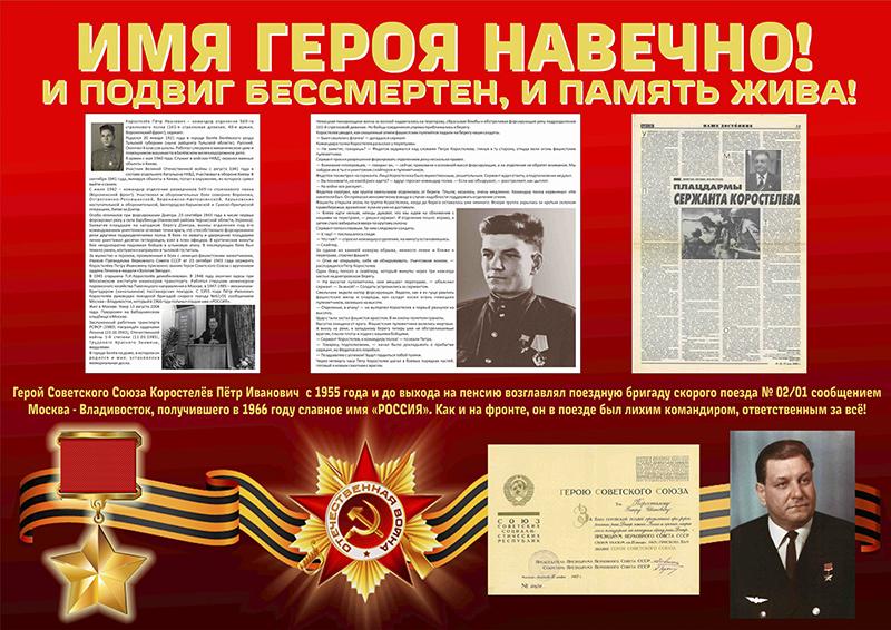 Плакат с биографией, рассказом о боевом пути и трудовой деятельности Героя Советского Союза Петра Коростелева.